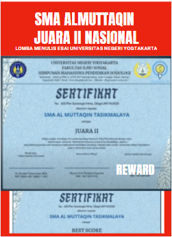 SMA Almuttaqin Juara II Nasional Lomba Esai UNY